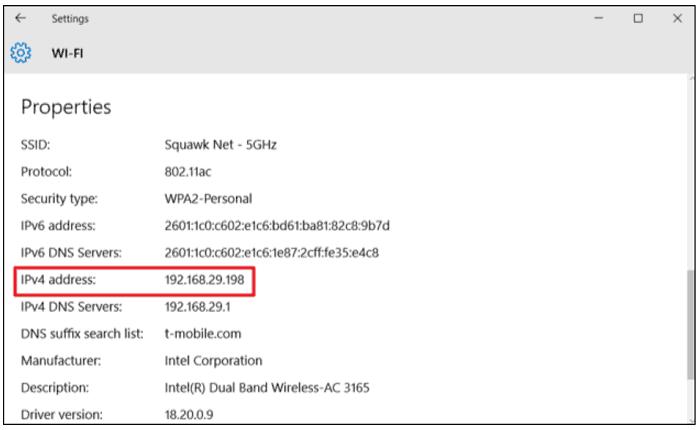 Device's IP Address