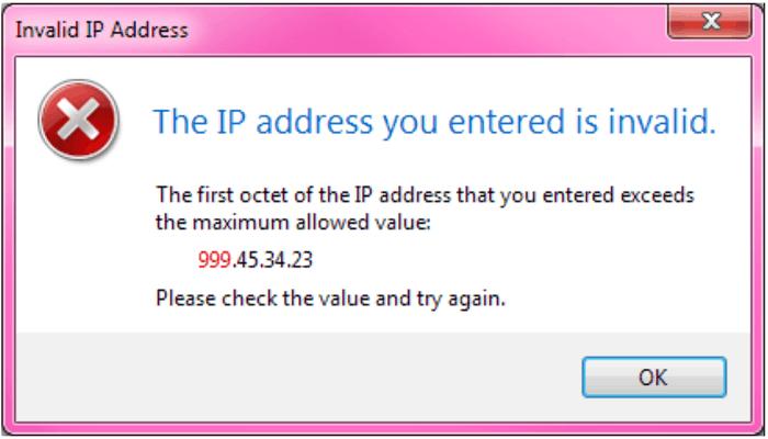 Incorrect IP Address