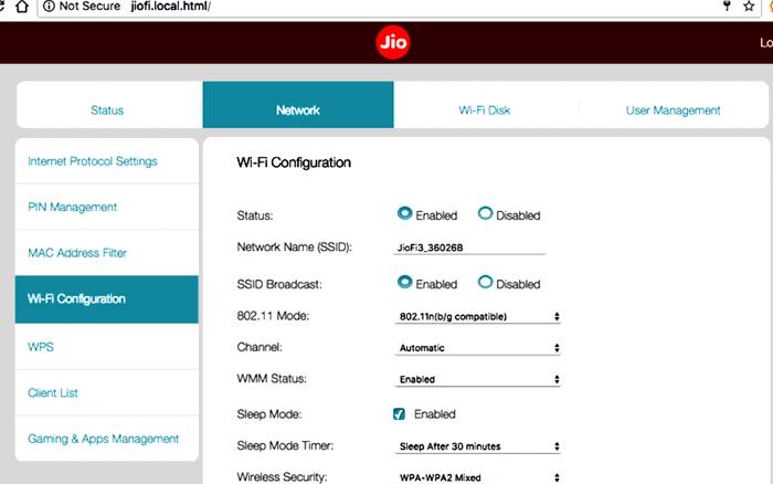 Network Wi-fi Configuration