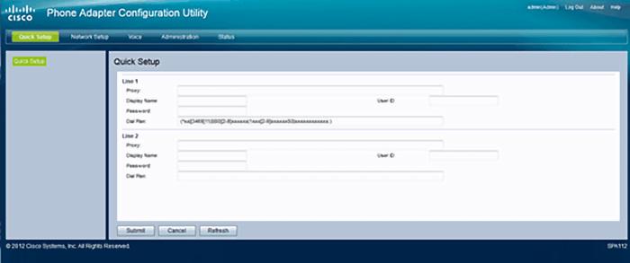 Quick set up menu Cisco router