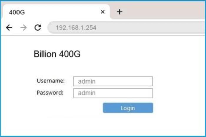 login into billion router