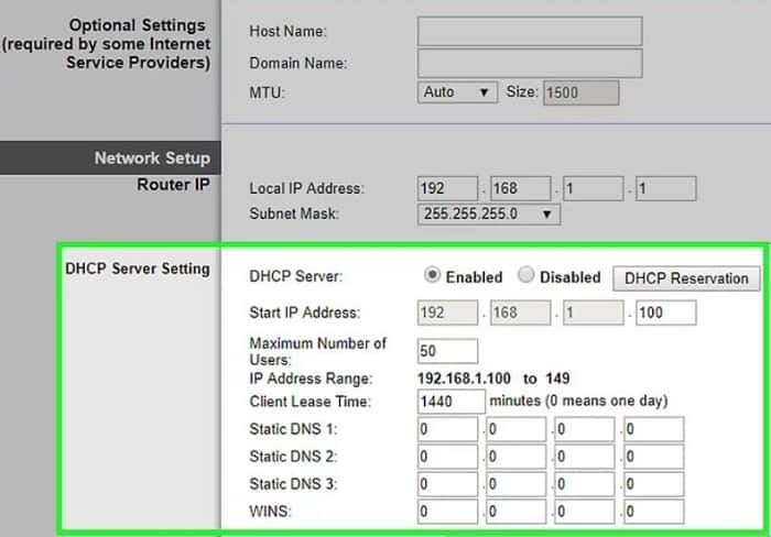 look for dhcp setting