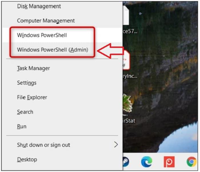 select windows powershell (admin)